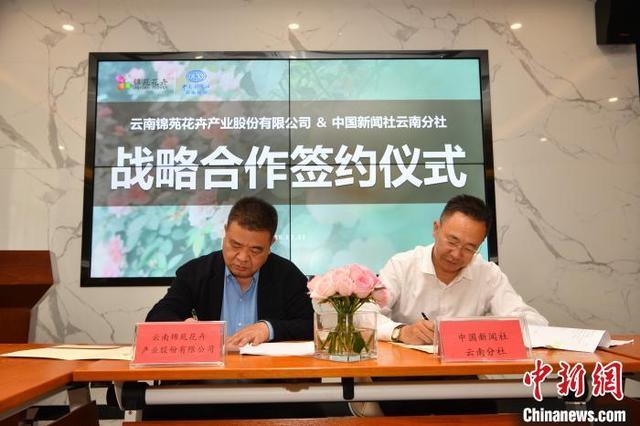 图为锦苑花卉总经理曹荣根(左)和中新社云南分社社长王林(右)签署战略合作协议。 胡远航 摄